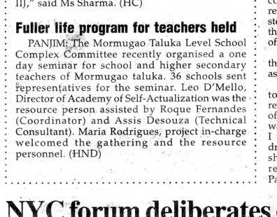 Fuller Life Programme for teachers held