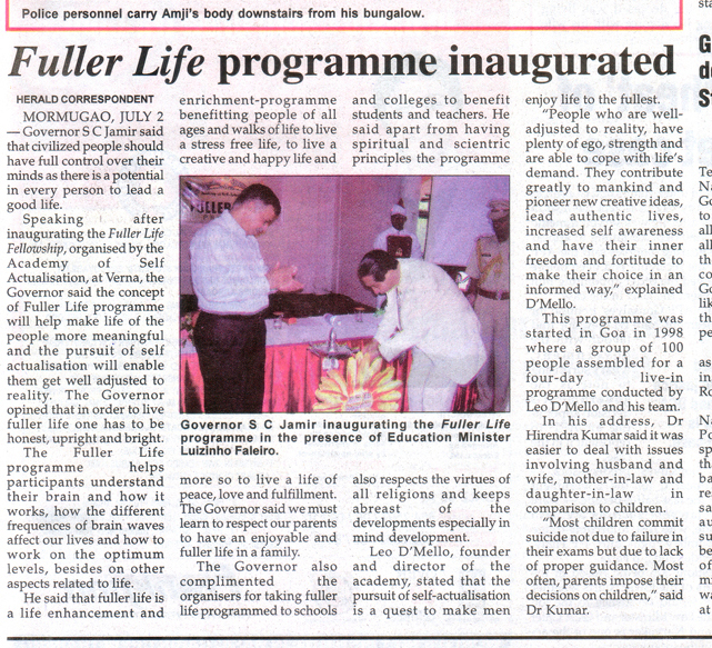 Fuller Life Programme inaugurated