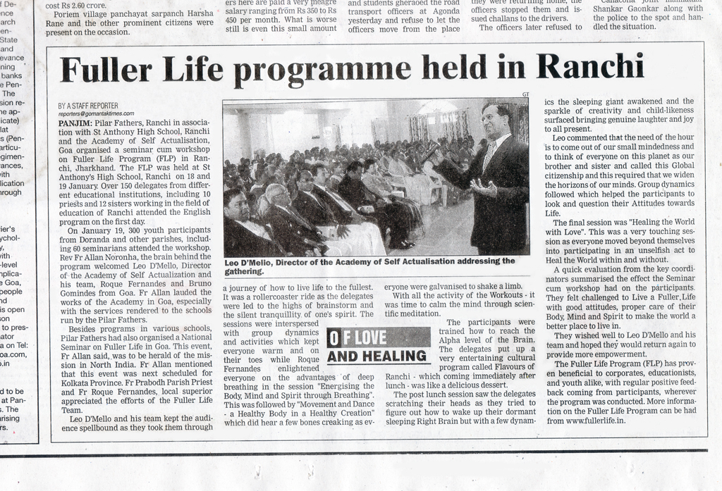 Fuller Life Programme held in Ranchi